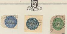 IRELAND (3) CUT SQUARES FROM POSTAL ENVELOPES