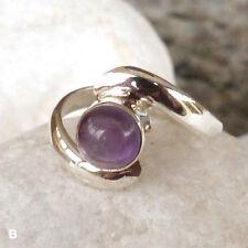 Echte Edelstein-Ringe aus Sterlingsilber mit Amethyst und Cabochon für Damen