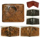Anime One Piece Wallet Bifold Brown Embossing Purse PU Leather Card Holders Gift