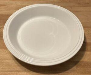 LE CREUSET Stoneware Deep Dish Pan Plate Ribbed Top White