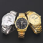 Luxury Mens Gold Plated Big Dial Crystal Decorating Quartz Date Day Wrist Watch
