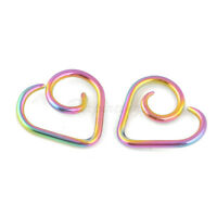2pc 16G Rainbow Anodized on TITANIUM  Heart Seamless Ring Cartilage Daith Tragus