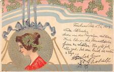 FRANCE BEAUTIFUL WOMAN ART NOUVEAU POSTCARD 1903