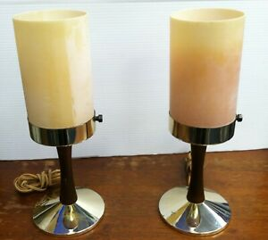 Pair Vintage Midcentury Modern End/Night Table Lamps In A Form Of A Thick Candle