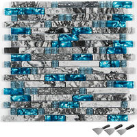 "Glass Mosaic Tile Backsplash Tile for Kitchen Bathroom 6 pcs 12x12"" Home Deco"