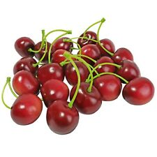 Artificial Red Cherries Fake Fruit Realistic Lifelike Hand Made Decoration 16pcs