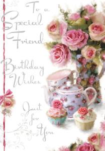 "Jonny Javelin Special Friend Birthday Card -  Cupcakes and Flowers     9"" x 6"""