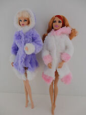 A Set of 2 Short Length Fur Coats in Purple and White and Pink and White Made to