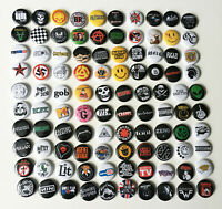 "100 1"" Buttons Mixed Lot Rock Pop Ska Punk 80s 90s Badges Pins Resale Classic"