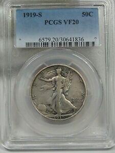 VF 1919-s Silver Walking LIBERTY Half Dollar PCGS VF20.  #4