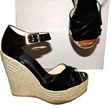 Jimmy Choo Pallis Wedge Ankle Strap Black Pump Espadrilles Shoes 41.5