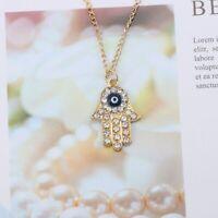 Halskette Damen Anhänger Hamsa Hand Fatima Gold Silber Nazar Boncuk Blogger NEU
