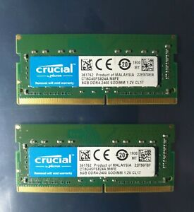 Crucial PC4-19200 PC4 2400T 16GB 2X8GB DDR4 1RX8 2400MHz 260pin Laptop Memory