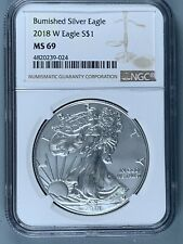 2018-W BURNISHED Silver American Eagle $1 * NGC MS69 * One Ounce