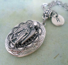 Beautiful Archangel Uriel Filigree Locket Necklace with Swarovski Crystal