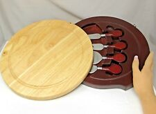 CHEESE SERVICE wooden BOARD KNIVES & FORK Nesting STORAGE drawer