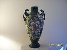 Satsuma Antique Japanese Tall Double Handled Enamel & Gold Floral Vase