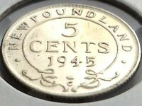 1945 Newfoundland Canada Five 5 Cent Small George VI Whizzed Coin K983