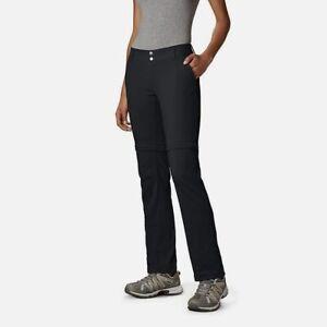 $119 Columbia Women Black Convertible Straight Leg Hiking Stretch Shorts Pants 6