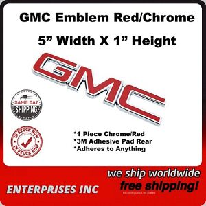 "GMC Red Chrome Mini Emblem 5"" Width X 1"" Height Adheres to Nearly Everything"