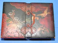 Jolie ancienne boite laquée décor oiseau, fleurs, Chine ?
