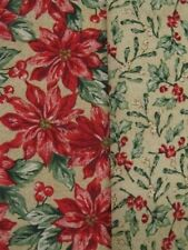 2 Yds Poinsettia & 2 Yds Holly Berries Fabric Set Oakhurst Textiles Christmas