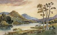 RYDAL WATER CUMBRIA LAKE DISTRICT Victorian Watercolour Painting - 19TH CENTURY