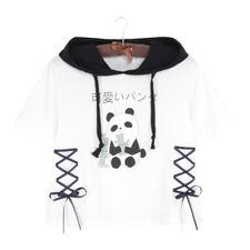 Harajuku Panda Hoodie T shirt Women Summer Short Sleeve Cute Tops Tee Lolita