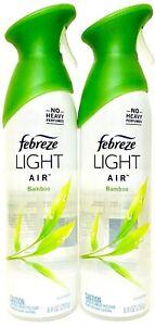 2 Bottles Febreze 8.8 Oz Light Air Bamboo No Heavy Perfumes Air Refresher Spray