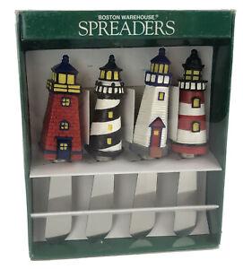 Vintage 1999 Boston Warehouse Lighthouse Spreaders Set of 4 Model #12135