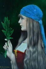 Ancien  Email de Limoges 19e Portrait jeune fille Préraphaéliste Jules Lefebvre