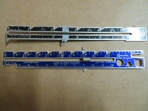 Sewing and Knitting Gauge marker tool ruler rule vintage hem seam- lot of two