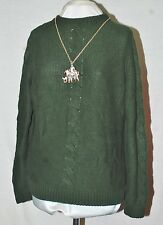 LIZ CLAIBORNE NEW YORK LONG SLEEVE SWEATER WITH CENTER CABLE XL EMERALD GREEN