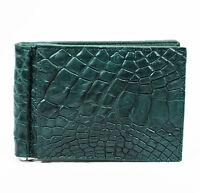 New Green Genuine Leather Crocodile Alligator Skin Mens Bi-fold Wallet.
