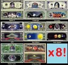 LOT de 8 BILLETS US ! Collection MISSION SPATIAL APOLLO CHALLENGER COLUMBIA NASA