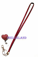 Valentine's Heart Rhinestone Red retractable ID Badge Holder reel + Red Lanyard