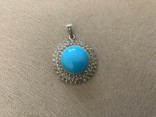 Marcasite Silver Pendant With Blue Stone , Bnwot