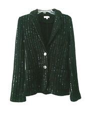 American Retro Paris Cardigan Sweater Blazer 100% Wool Sequin Womens Sz 1 Jacket
