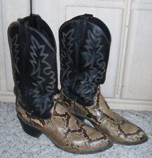 Mens DAN POST Leather Snake Pattern Western Cowboy Boots~Black Brown~Size 8.5 D
