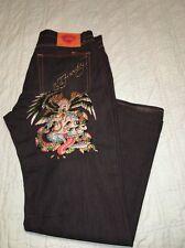 Ed Hardy Fonda Wash Rhinestone Jeans Size 40 b1