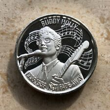 Buddy Holly 999 Silver 2 oz Art Medal Round American Music Icon Series BEAUTIFUL
