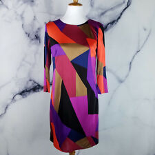 Trina Turk Womens Dress 6 Camellia Colorblock Bodycon Shift Multi-Color Casual