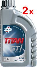 2 x Fuchs Titan GT1 5W-40 XTL OLIO MOTORE LUBRIFICANTE 1 LITRO ACEA C3