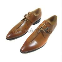 Mens Genuine Leather Formal Winklepicker Lace Up Pointed Toe Buckle Dress Shoes