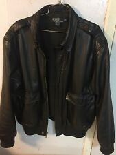 Polo Ralph Lauren Leather Bomber Jacket Size L Black Vintage
