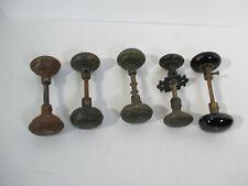Antique Hardware Door Knobs Brass Metal Stone Collar Salvage Restoration 5 Sets