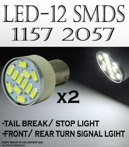 x2 prs 1157 2357 2396 12 SMDs LED White Front Turn Signal Light Bulbs Lamp G71