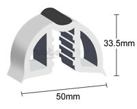 50mm Gunwale Rubber, PVC Gunnel Boat Edging, White with Black Strip - Per Mtr