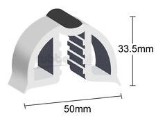 50mm Gunwale Rubber, PVC Gunnel Boat Edging, White with Black Strip - Per Mtr