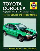 Toyota Corolla Aug 1992-1997 K to P reg. Haynes Manual 3259 NEW